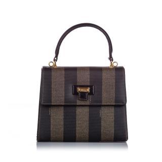 Fendi brown stripe Pequin handle bag