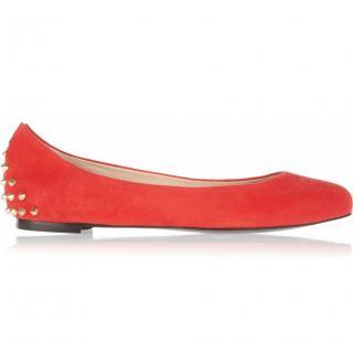 Alexander McQueen red studded suede ballet flats