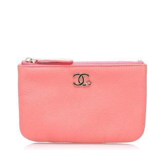 Chanel CC Pink Caviar Leather Pouch