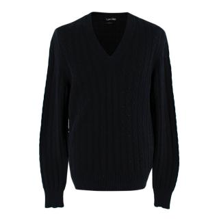 Tom Ford Black Cable Knit V-Neck Jumper