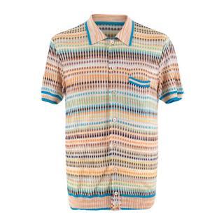 Missoni Multi-colour Striped Knit Short Sleeve Shirt
