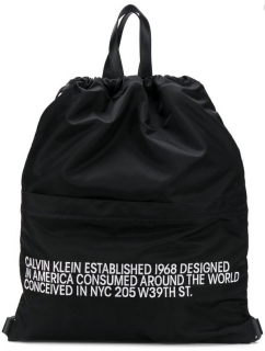 Calvin Klein 205W39NYC Black Slogan Drawstring Backpack
