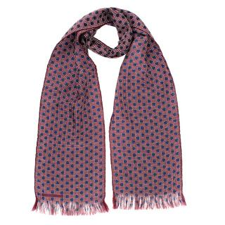 Burberry Men's Burgundy Double Polka-dot Silk Scarf