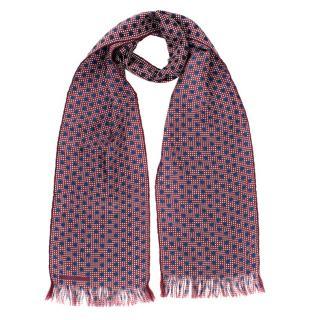 Burberry Men's Burgundy Double Polka-dot Silk Scarf