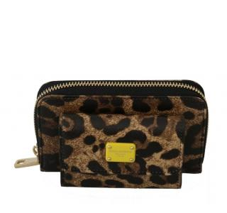 Dolce & Gabbana Leopard Print Leather Coin Purse & Wallet