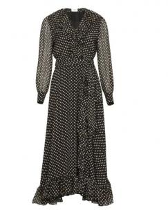 Celine Polka Dot Ruffled Silk Midi Wrap Dress - New Season