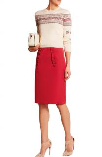 Miu Miu Ruffled satin pencil skirt