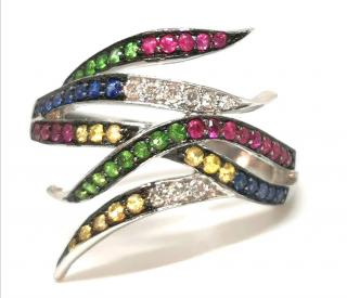 Bespoke diamond, sapphire, ruby, flame ring