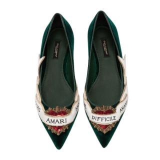 Dolce & Gabbana Green Velvet Amari Ballerinas
