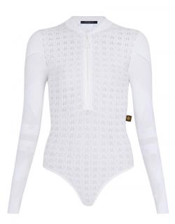 Louis Vuitton white lace & knit long-sleeve bodysuit