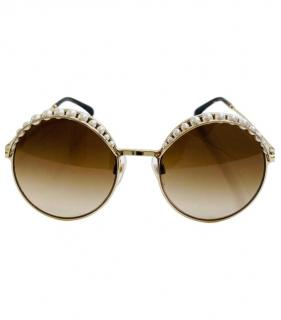 Chanel faux pearl rimmed sunglasses