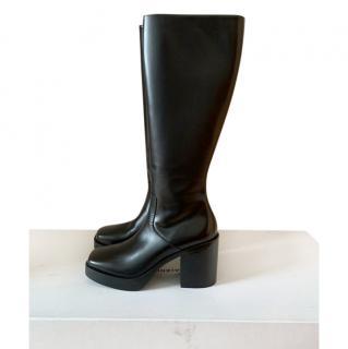 Balenciaga black square toe leather knee boots