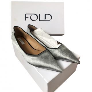 The Fold Silver Calf Hair Ballerinas