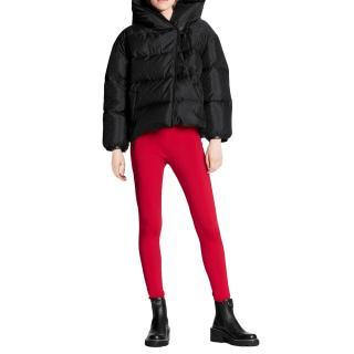 Louis Vuitton Red Technical Jersey Monogram Trim Leggings