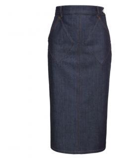 Balenciaga navy denim pencil skirt