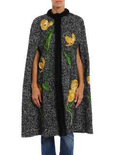 Dolce & Gabbana silk tulip appliqu�d wool cape