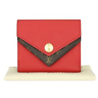 Louis Vuitton red monogram canvas Double V compact purse