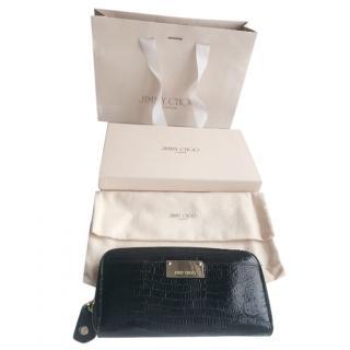 Jimmy Choo large black python design leather purse
