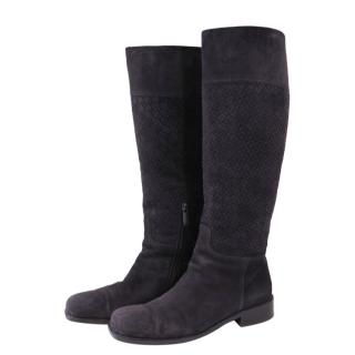 Bottega Veneta Intrecciato brown suede knee boots