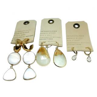 Anthropologie crystal Drop 3 x Set of Earrings
