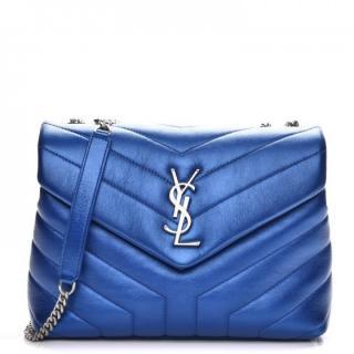 Saint Laurent Metallic Blue Monogram Small Loulou Shoulder Bag