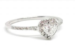 Bespoke heart shaped diamond halo ring