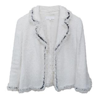 Escada Ecru Tweed Jacket with Black & White Tweed Trim