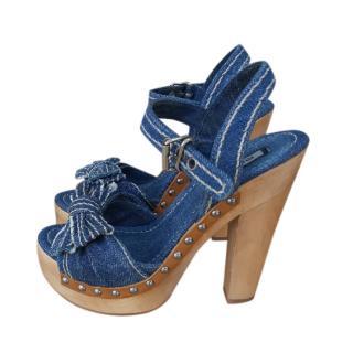 Miu Miu Denim Platform Sandals