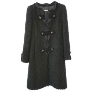 Ungaro Black Tweed Coat with Jewelled Buttons
