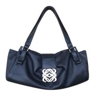 Loewe Black Leather Logo Detail Shoulder Bag