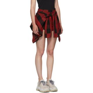 Alexander Wang Plaid Broadcloth Self-Tie Shorts