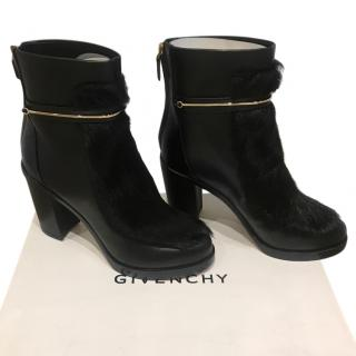 Givenchy Leather Fur Trimmed Black Ankle Boots