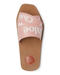 Chlo� Pink Woody Logo Ribbon Canvas Slide