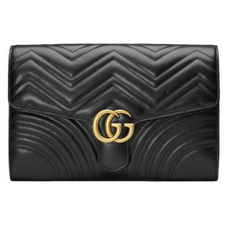 Gucci Black Leather GG Marmont Clutch