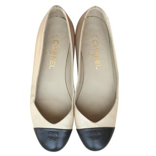 Chanel Two-Tone V-Cut Ballerina Flats