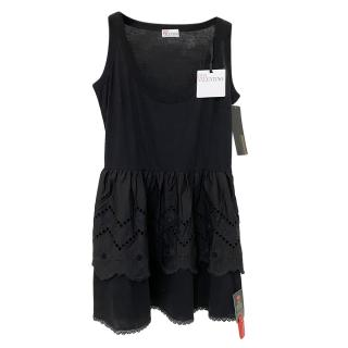 RED Valentino Black Broderie Anglaise Sleevless Mini Dress
