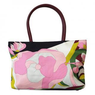 Emilio Pucci Floral Print Canvas & Leather Tote Bag