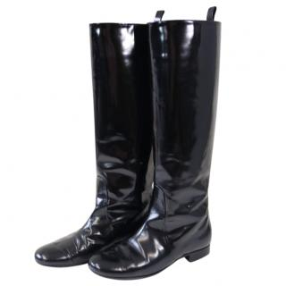 Celine Black Glossy Leather Tall Boots