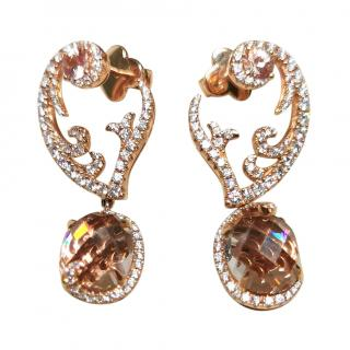 Sarah Ho for William & Son Morganite & Diamond Rose Gold Earrings