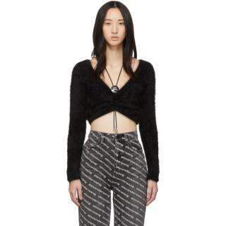 Alexander Wang Black Angora Blend Tie Detail Crop Jumper