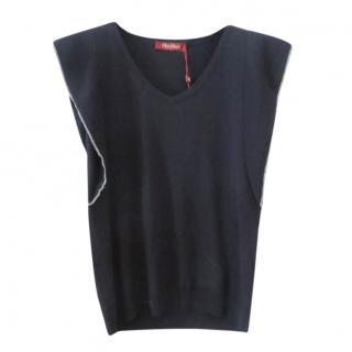 Max Mara Blue Wool & Silk Lurex Trimmed Sweater