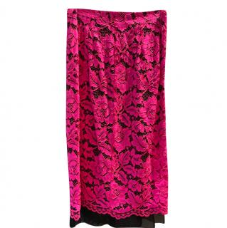 Sandro Hot Pink Lace Skirt