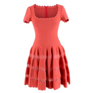 Alaia Coral Embroidered Knit Fit & Flare Mini Dress