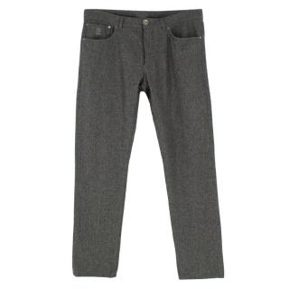 Brunello Cucinelli Mens Wool Grey Trousers