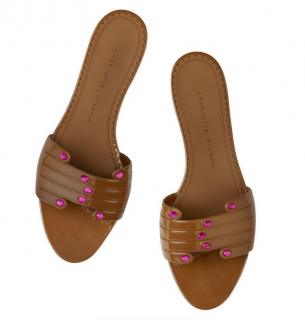 Charlotte Olympia Manipedi Brown Slides
