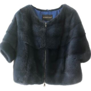 Rosestart blue mink fur short-sleeve jacket