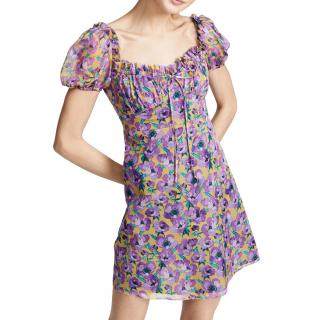Raquel Diniz Violet Printed Silk Mini Dress