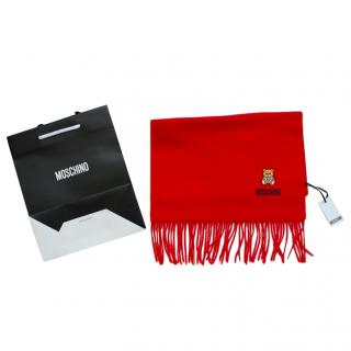 Moschino red merino bear embroidered wool scarf