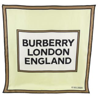 Burberry brown & white large logo printed silk scarf