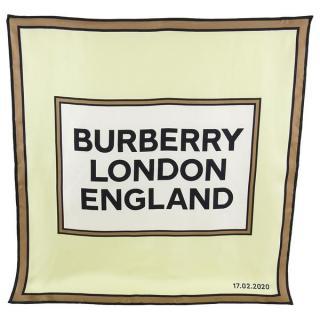 Burberry brown & white large logo printed silk scarf